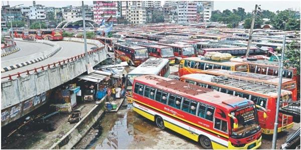 ঢাকা-চট্টগ্রামসহ ৮৭ রুটে চলছে পরিবহন ধর্মঘট